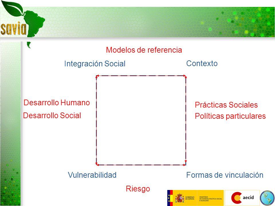 Integración Social Contexto (Determinantes Formas de vinculaciónVulnerabilidad Riesgo Desarrollo Humano Desarrollo Social Prácticas Sociales Políticas particulares Modelos de referencia Determinantes