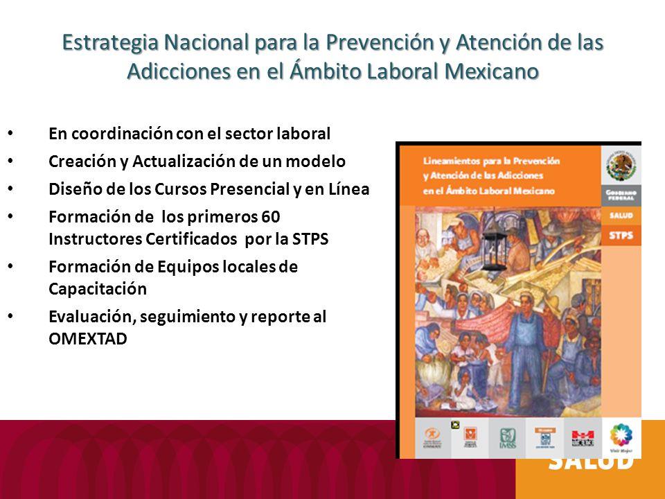 Estrategia Nacional para la Prevención y Atención de las Adicciones en el Ámbito Laboral Mexicano En coordinación con el sector laboral Creación y Actualización de un modelo Diseño de los Cursos Presencial y en Línea Formación de los primeros 60 Instructores Certificados por la STPS Formación de Equipos locales de Capacitación Evaluación, seguimiento y reporte al OMEXTAD