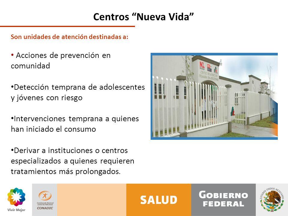 Centros Nueva Vida Son unidades de atención destinadas a: Acciones de prevención en comunidad Detección temprana de adolescentes y jóvenes con riesgo