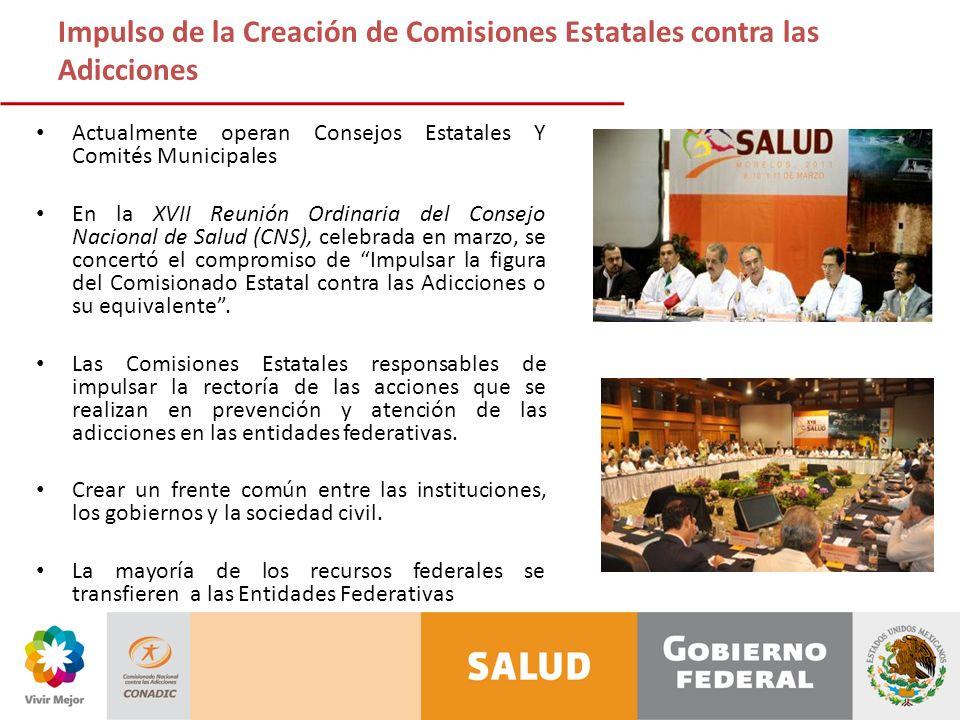 Impulso de la Creación de Comisiones Estatales contra las Adicciones Actualmente operan Consejos Estatales Y Comités Municipales En la XVII Reunión Or