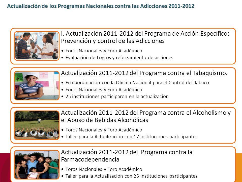 I. Actualización 2011-2012 del Programa de Acción Específico: Prevención y control de las Adicciones Foros Nacionales y Foro Académico Evaluación de L