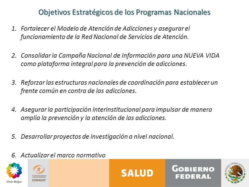 Objetivos Estratégicos de los Programas Nacionales 1.Fortalecer el Modelo de Atención de Adicciones y asegurar el funcionamiento de la Red Nacional de Servicios de Atención.