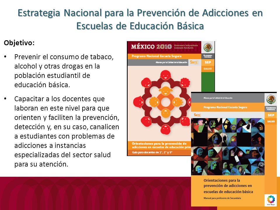 Estrategia Nacional para la Prevención de Adicciones en Escuelas de Educación Básica Objetivo: Prevenir el consumo de tabaco, alcohol y otras drogas e