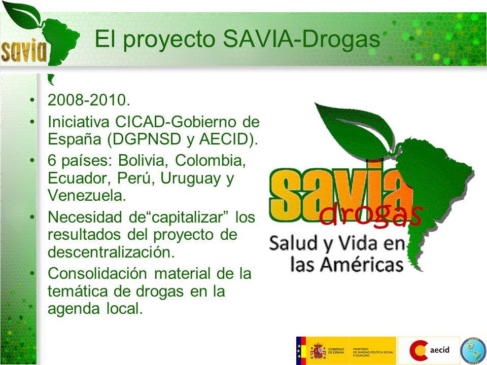 El proyecto SAVIA-Drogas 2008-2010. Iniciativa CICAD-Gobierno de España (DGPNSD y AECID). 6 países: Bolivia, Colombia, Ecuador, Perú, Uruguay y Venezu