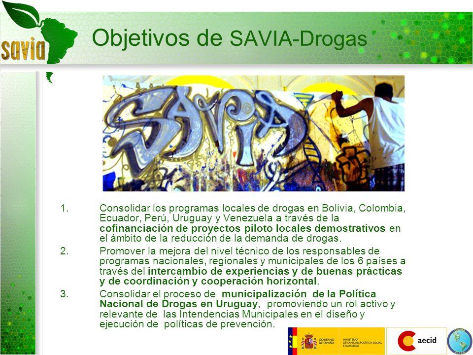 Objetivos de SAVIA-Drogas 1.Consolidar los programas locales de drogas en Bolivia, Colombia, Ecuador, Perú, Uruguay y Venezuela a través de la cofinan