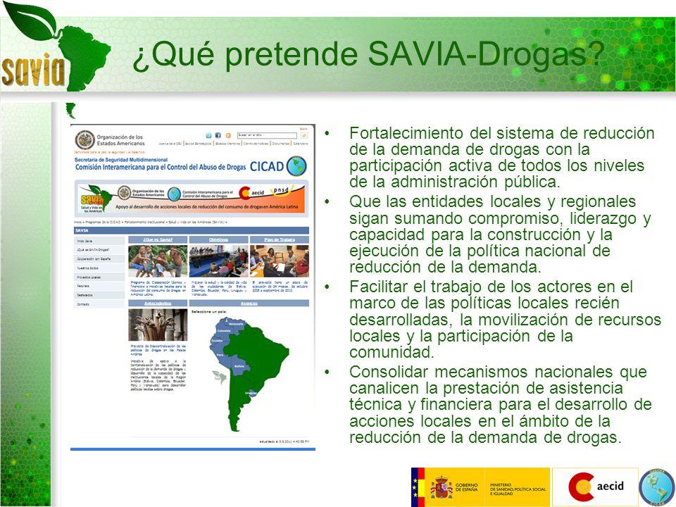 ¿Qué pretende SAVIA-Drogas? Fortalecimiento del sistema de reducción de la demanda de drogas con la participación activa de todos los niveles de la ad