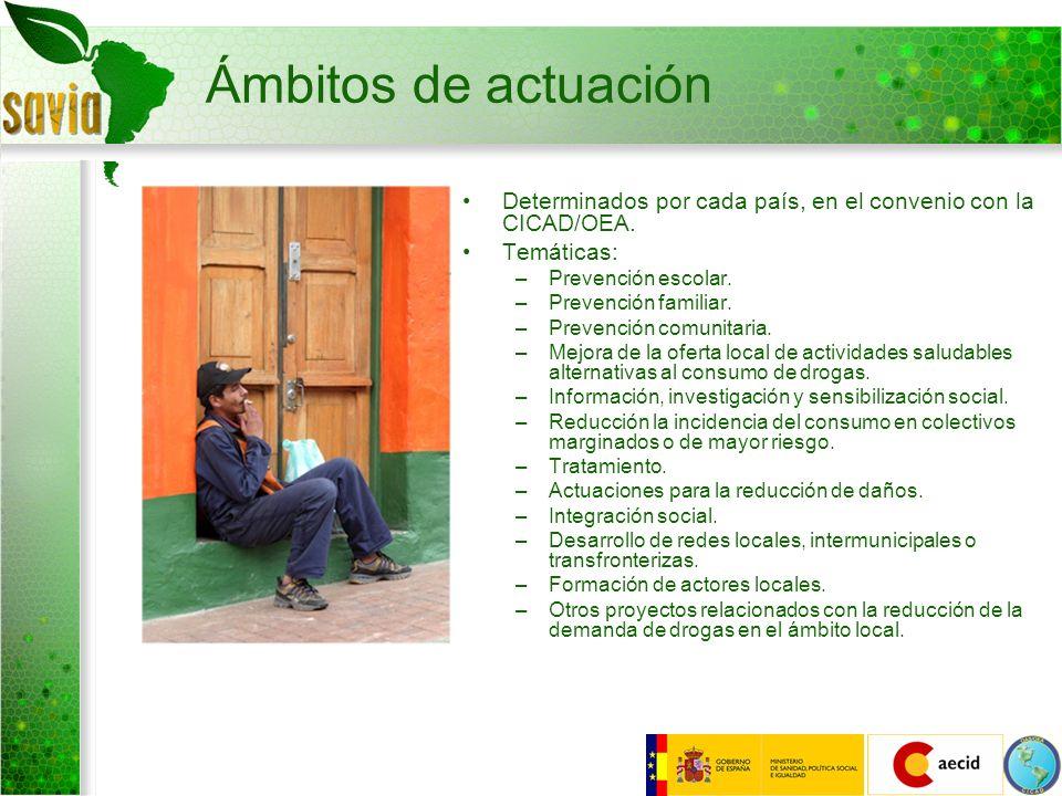 Ámbitos de actuación Determinados por cada país, en el convenio con la CICAD/OEA. Temáticas: –Prevención escolar. –Prevención familiar. –Prevención co
