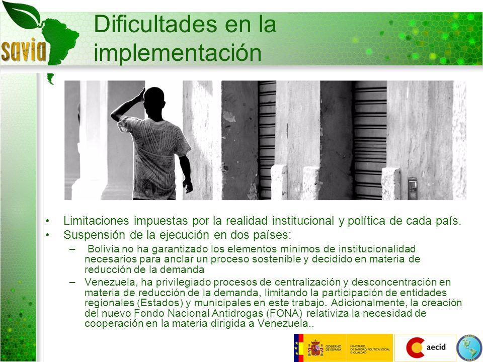 Dificultades en la implementación Limitaciones impuestas por la realidad institucional y política de cada país. Suspensión de la ejecución en dos país