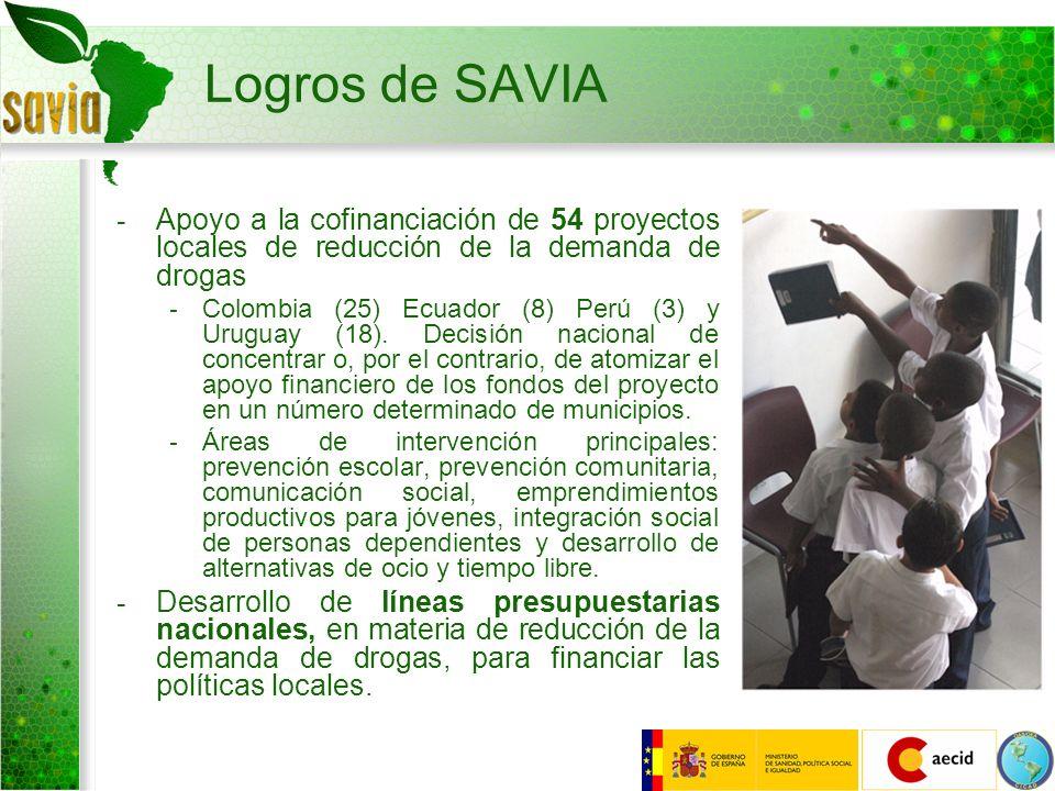 Logros de SAVIA - Apoyo a la cofinanciación de 54 proyectos locales de reducción de la demanda de drogas - Colombia (25) Ecuador (8) Perú (3) y Urugua