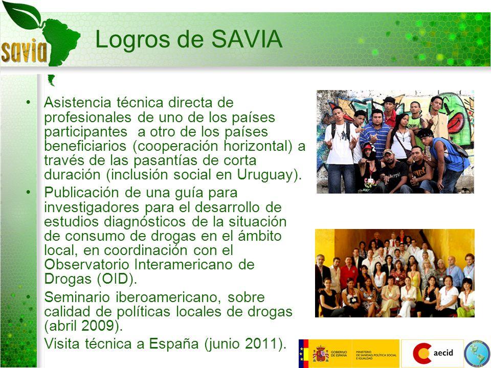 Logros de SAVIA Asistencia técnica directa de profesionales de uno de los países participantes a otro de los países beneficiarios (cooperación horizon
