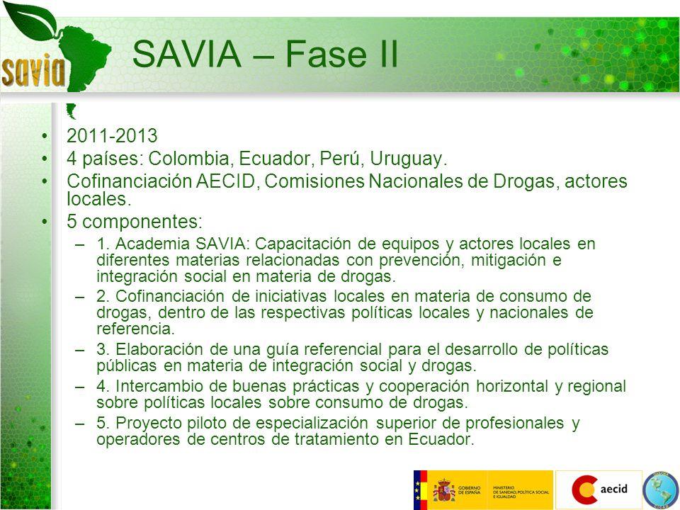 SAVIA – Fase II 2011-2013 4 países: Colombia, Ecuador, Perú, Uruguay. Cofinanciación AECID, Comisiones Nacionales de Drogas, actores locales. 5 compon