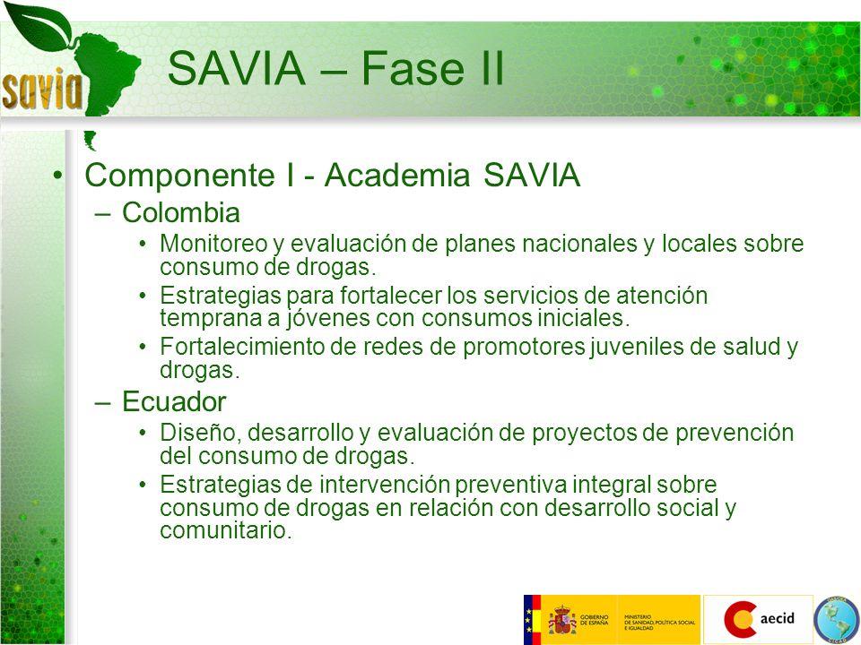 SAVIA – Fase II Componente I - Academia SAVIA –Colombia Monitoreo y evaluación de planes nacionales y locales sobre consumo de drogas. Estrategias par