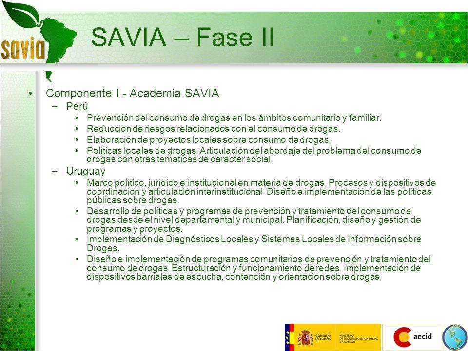 SAVIA – Fase II Componente I - Academia SAVIA –Perú Prevención del consumo de drogas en los ámbitos comunitario y familiar. Reducción de riesgos relac