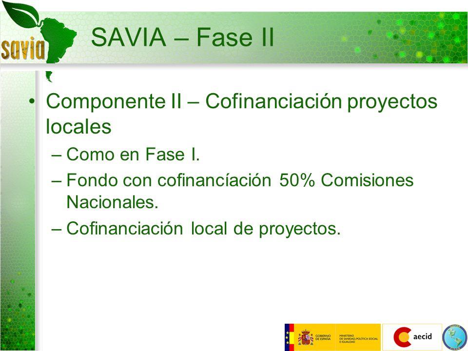 SAVIA – Fase II Componente II – Cofinanciación proyectos locales –Como en Fase I. –Fondo con cofinancíación 50% Comisiones Nacionales. –Cofinanciación