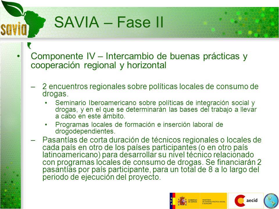 SAVIA – Fase II Componente IV – Intercambio de buenas prácticas y cooperación regional y horizontal –2 encuentros regionales sobre políticas locales d