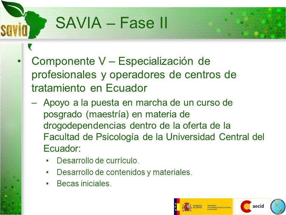 SAVIA – Fase II Componente V – Especialización de profesionales y operadores de centros de tratamiento en Ecuador –Apoyo a la puesta en marcha de un c
