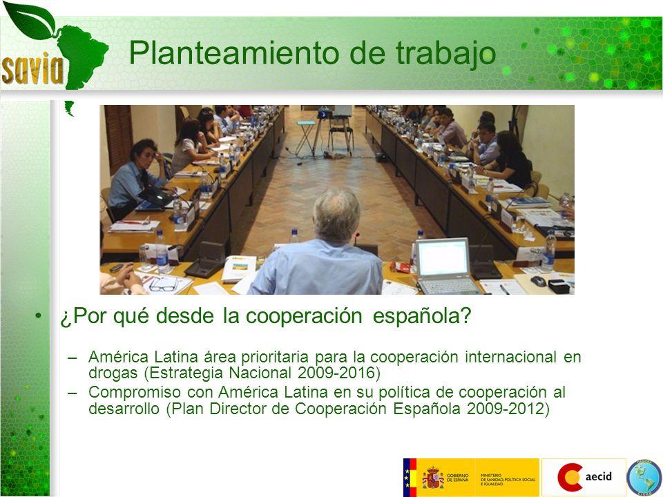 Planteamiento de trabajo ¿Por qué desde la cooperación española? –América Latina área prioritaria para la cooperación internacional en drogas (Estrate