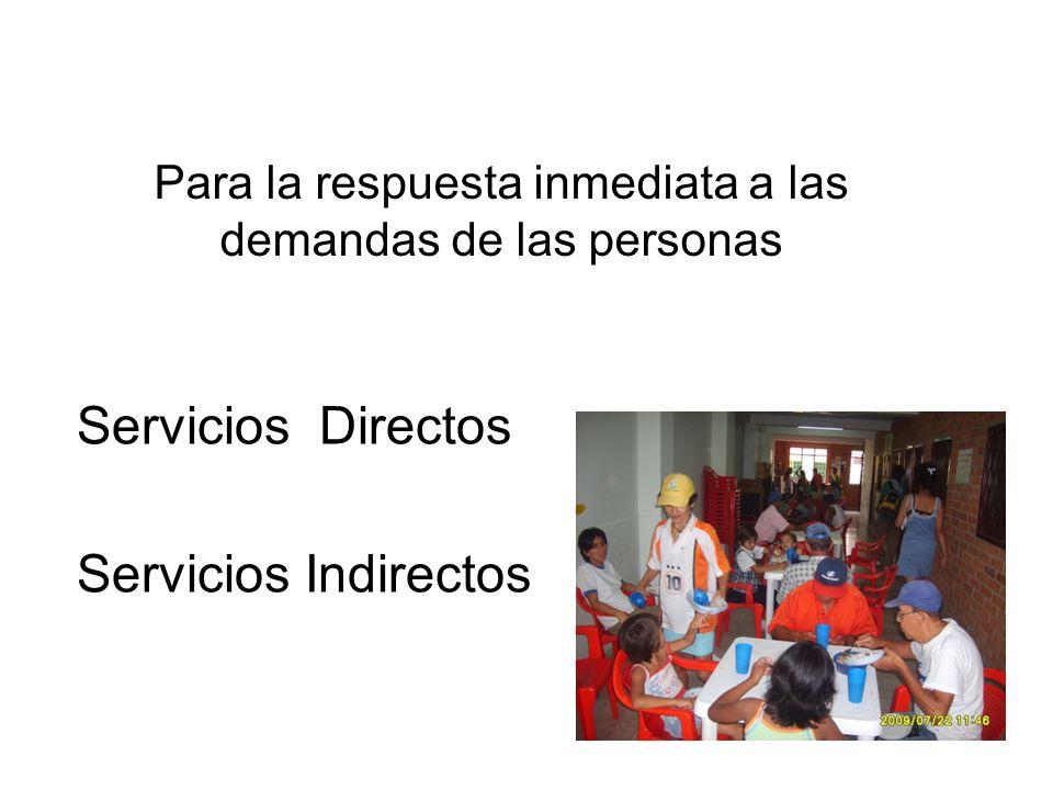 Para la respuesta inmediata a las demandas de las personas Servicios Directos Servicios Indirectos