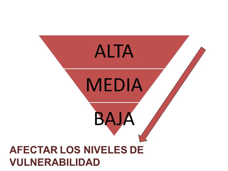 AFECTAR LOS NIVELES DE VULNERABILIDAD ALTA MEDIA BAJA