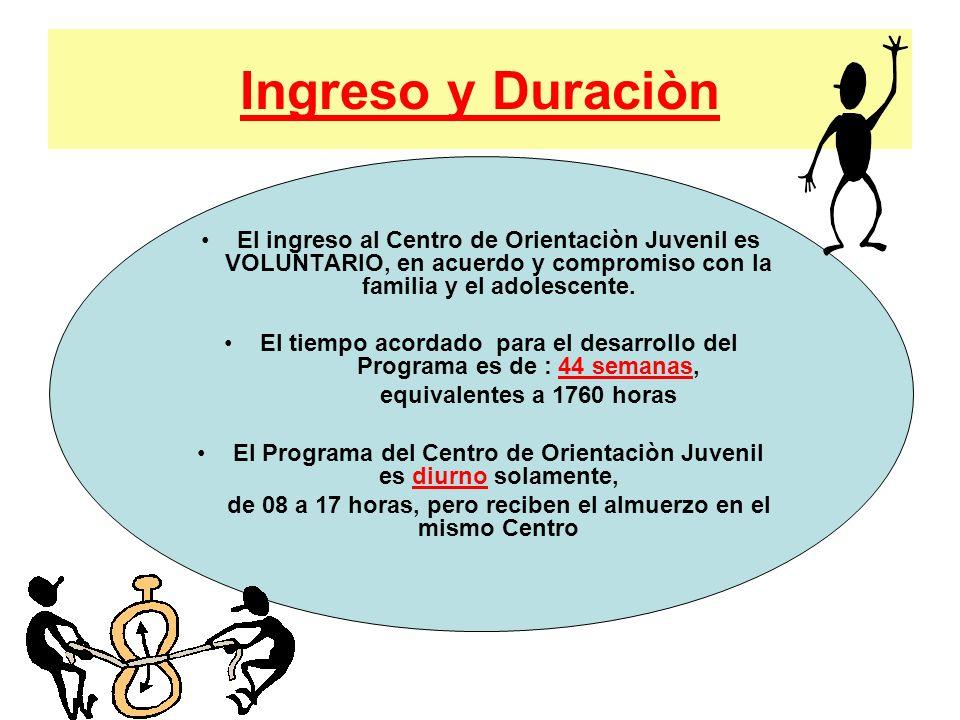 Ingreso y Duraciòn El ingreso al Centro de Orientaciòn Juvenil es VOLUNTARIO, en acuerdo y compromiso con la familia y el adolescente. El tiempo acord