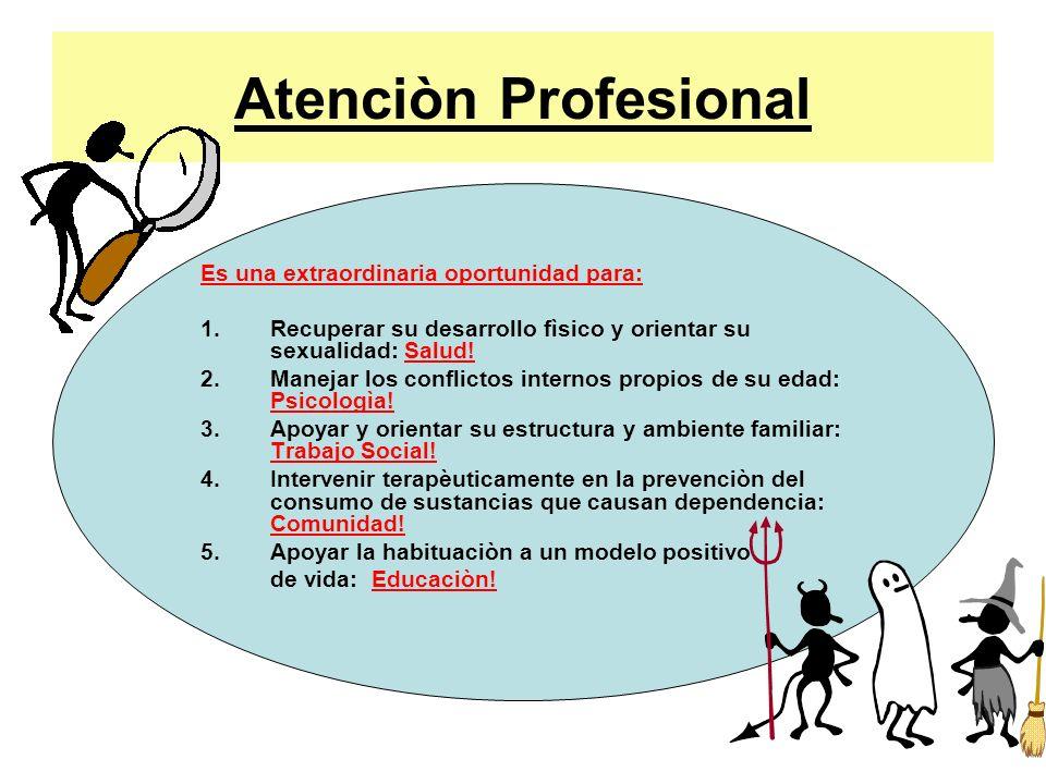 Atenciòn Profesional Es una extraordinaria oportunidad para: 1.Recuperar su desarrollo fìsico y orientar su sexualidad: Salud! 2.Manejar los conflicto