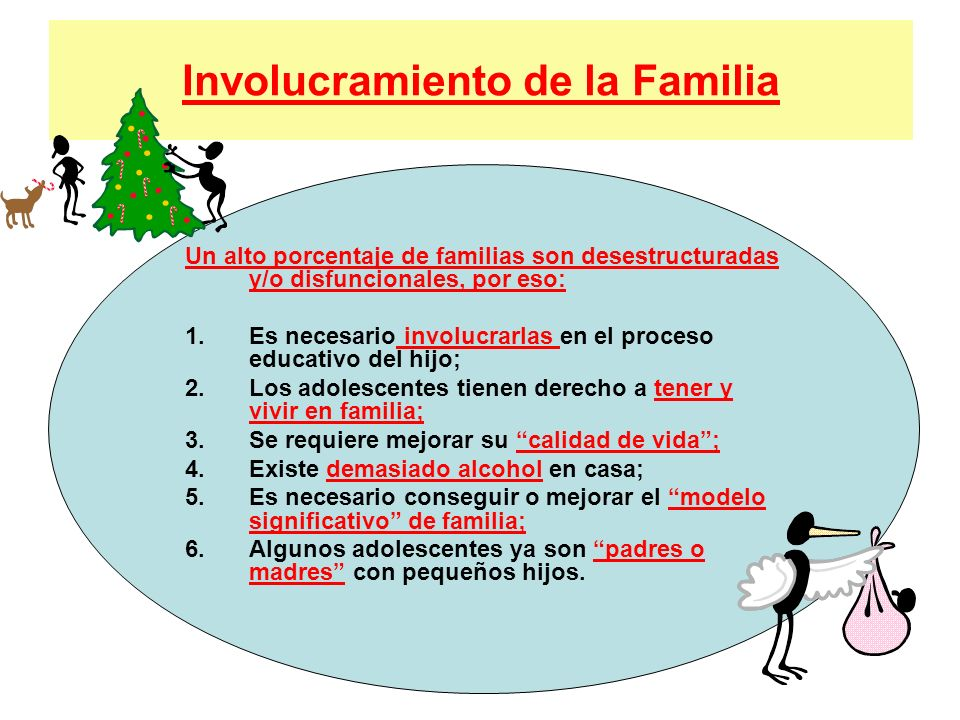 Involucramiento de la Familia Un alto porcentaje de familias son desestructuradas y/o disfuncionales, por eso: 1.Es necesario involucrarlas en el proc