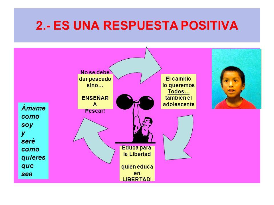 2.- ES UNA RESPUESTA POSITIVA El cambio lo queremos Todos… tambièn el adolescente Educa para la Libertad quien educa en LIBERTAD! No se debe dar pesca