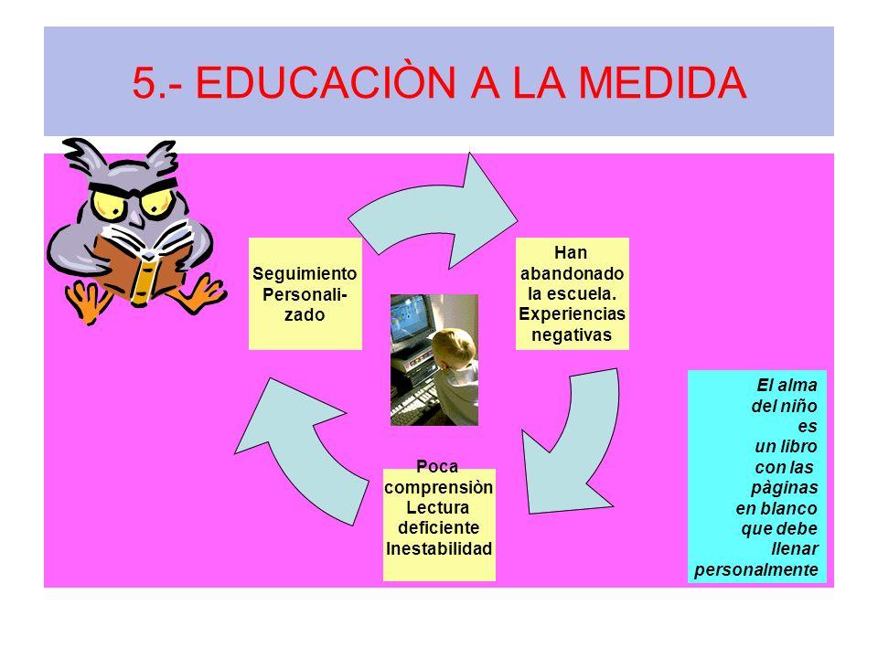 5.- EDUCACIÒN A LA MEDIDA Han abandonado la escuela. Experiencias negativas Poca comprensiòn Lectura deficiente Inestabilidad Seguimiento Personali- z