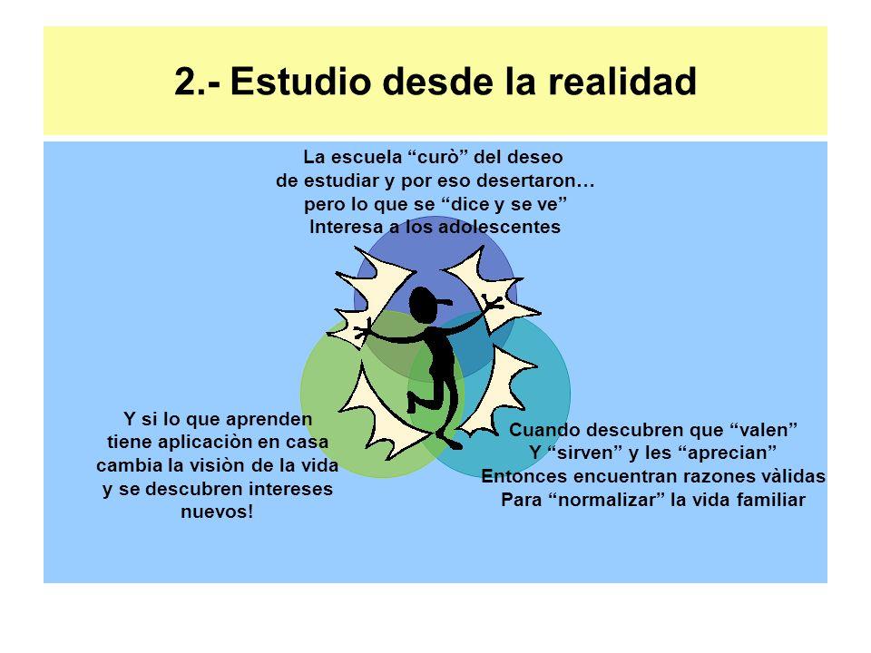 2.- Estudio desde la realidad La escuela curò del deseo de estudiar y por eso desertaron… pero lo que se dice y se ve Interesa a los adolescentes Cuan
