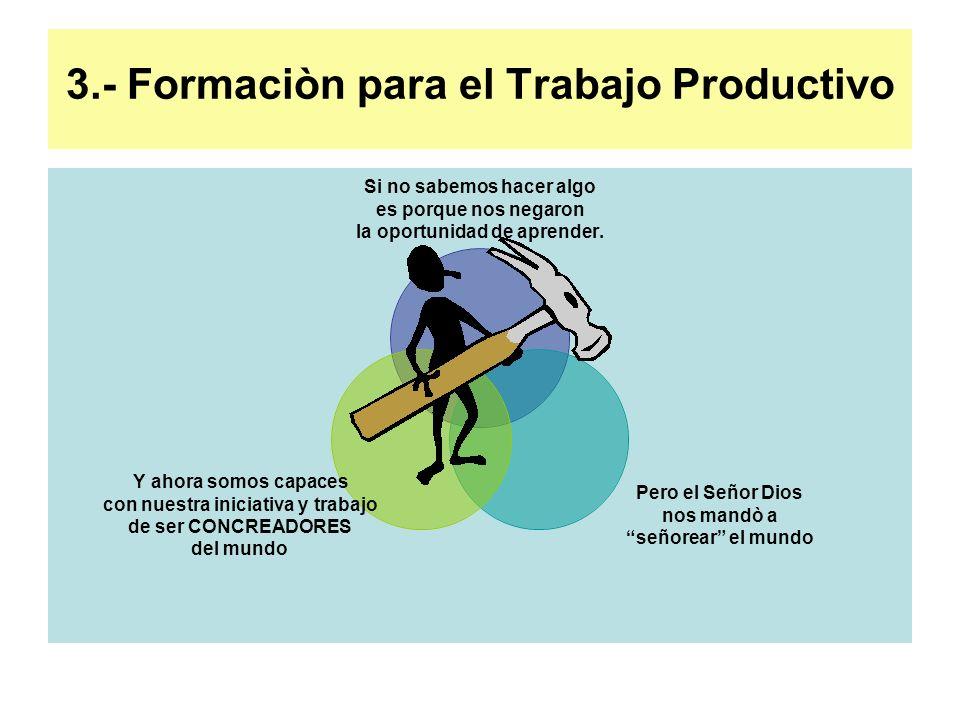 3.- Formaciòn para el Trabajo Productivo Si no sabemos hacer algo es porque nos negaron la oportunidad de aprender. Pero el Señor Dios nos mandò a señ