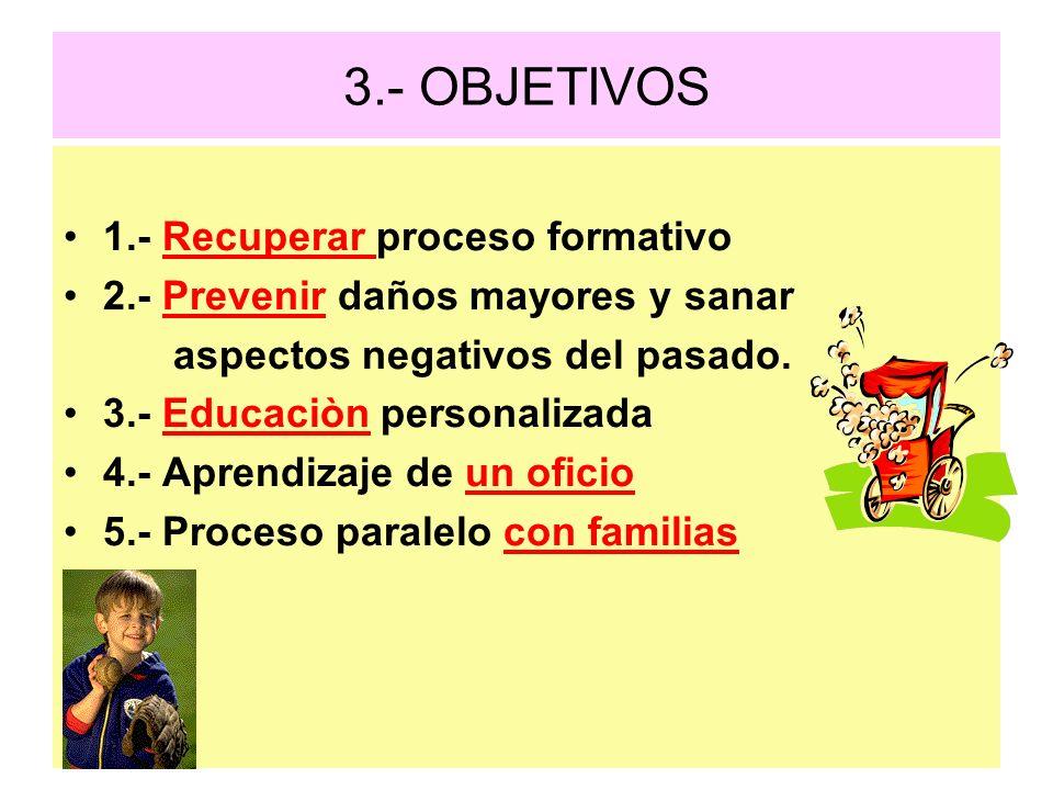 3.- OBJETIVOS 1.- Recuperar proceso formativo 2.- Prevenir daños mayores y sanar aspectos negativos del pasado. 3.- Educaciòn personalizada 4.- Aprend