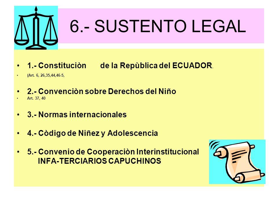6.- SUSTENTO LEGAL 1.- Constituciòn de la Repùblica del ECUADOR. (Art. 6, 26,35,44,46-5, 2.- Convenciòn sobre Derechos del Niño Art. 37, 40 3.- Normas