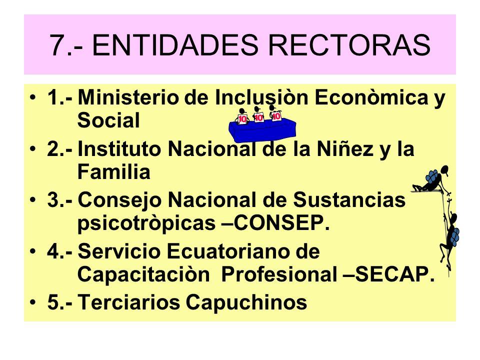 7.- ENTIDADES RECTORAS 1.- Ministerio de Inclusiòn Econòmica y Social 2.- Instituto Nacional de la Niñez y la Familia 3.- Consejo Nacional de Sustanci
