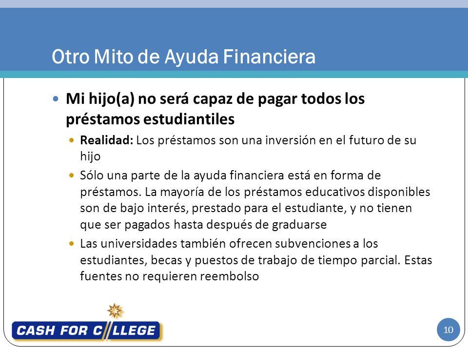 Mi hijo(a) no será capaz de pagar todos los préstamos estudiantiles Realidad: Los préstamos son una inversión en el futuro de su hijo Sólo una parte de la ayuda financiera está en forma de préstamos.