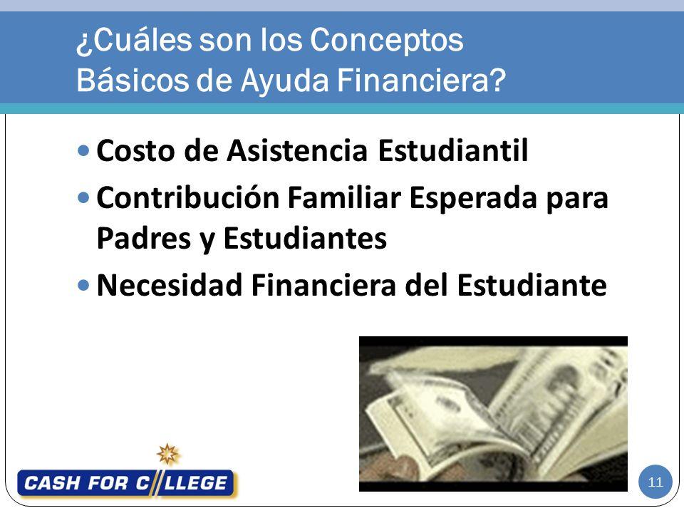 Costo de Asistencia Estudiantil Contribución Familiar Esperada para Padres y Estudiantes Necesidad Financiera del Estudiante ¿Cuáles son los Conceptos Básicos de Ayuda Financiera.