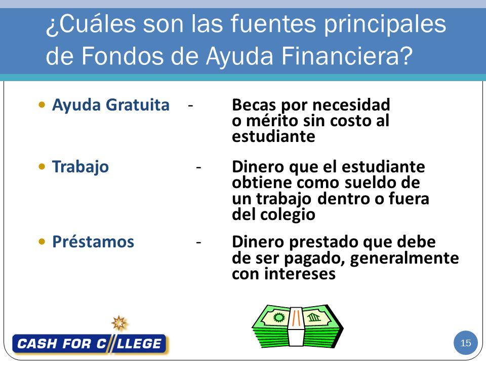 ¿Cuáles son las fuentes principales de Fondos de Ayuda Financiera.