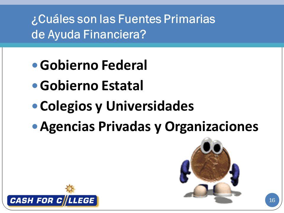 Gobierno Federal Gobierno Estatal Colegios y Universidades Agencias Privadas y Organizaciones ¿Cuáles son las Fuentes Primarias de Ayuda Financiera.
