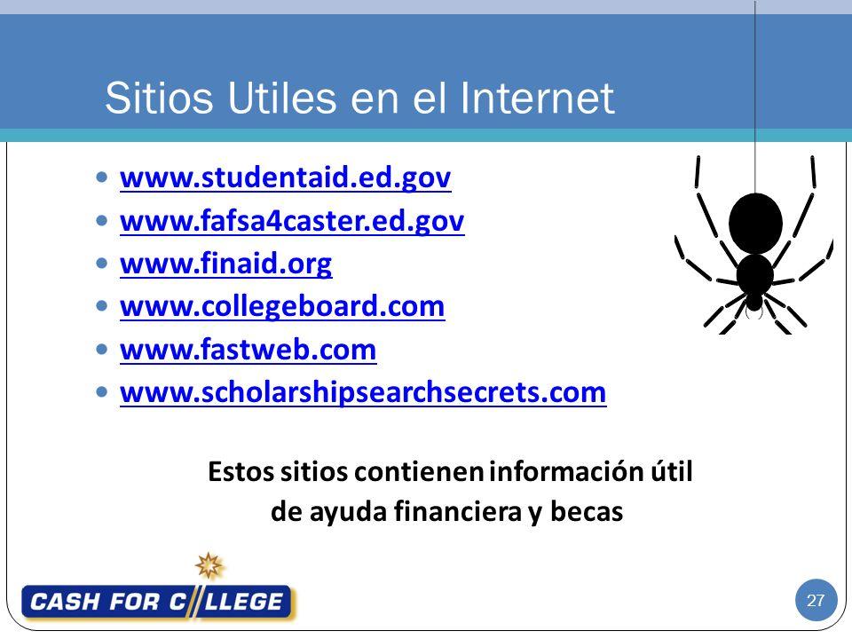 www.studentaid.ed.gov www.fafsa4caster.ed.gov www.finaid.org www.collegeboard.com www.fastweb.com www.scholarshipsearchsecrets.com Estos sitios contienen información útil de ayuda financiera y becas Sitios Utiles en el Internet 27