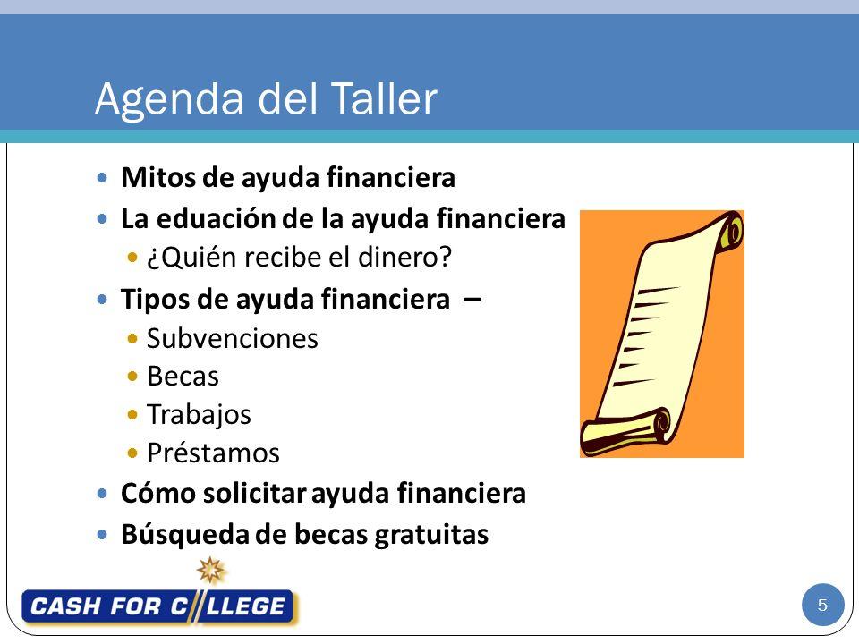 Mitos de ayuda financiera La eduación de la ayuda financiera ¿Quién recibe el dinero.