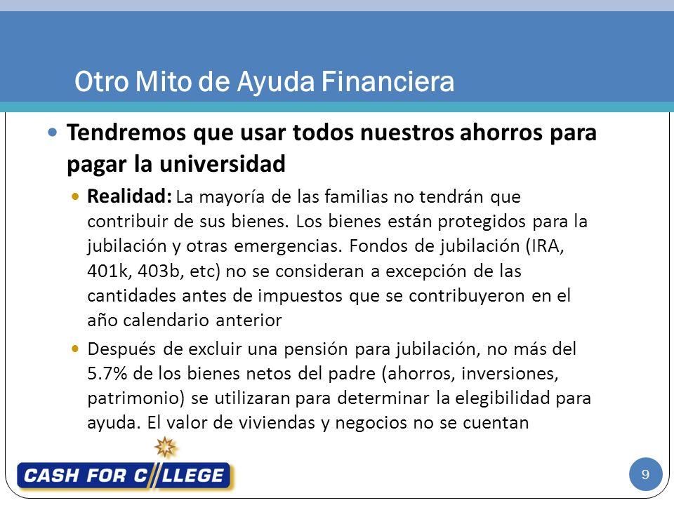 Tendremos que usar todos nuestros ahorros para pagar la universidad Realidad: La mayoría de las familias no tendrán que contribuir de sus bienes.