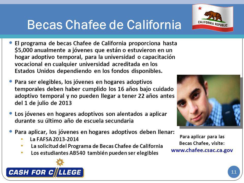11 Becas Chafee de California El programa de becas Chafee de California proporciona hasta $5,000 anualmente a jóvenes que están o estuvieron en un hogar adoptivo temporal, para la universidad o capacitación vocacional en cualquier universidad acreditada en los Estados Unidos dependiendo en los fondos disponibles.