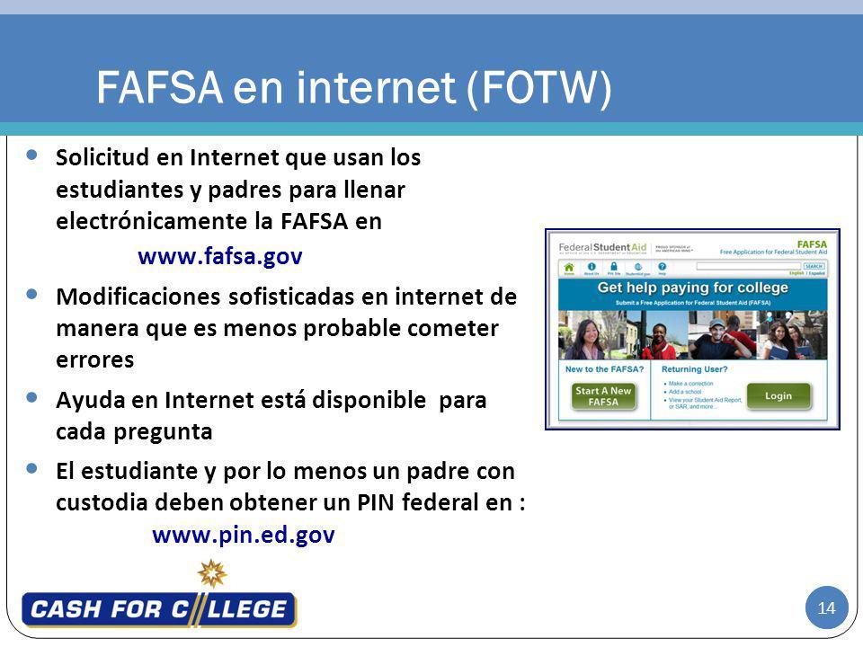 14 FAFSA en internet (FOTW) Solicitud en Internet que usan los estudiantes y padres para llenar electrónicamente la FAFSA en www.fafsa.gov Modificacio