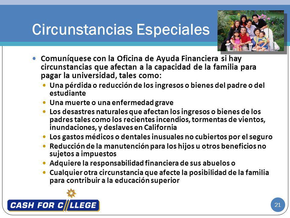 21 Comuníquese con la Oficina de Ayuda Financiera si hay circunstancias que afectan a la capacidad de la familia para pagar la universidad, tales como