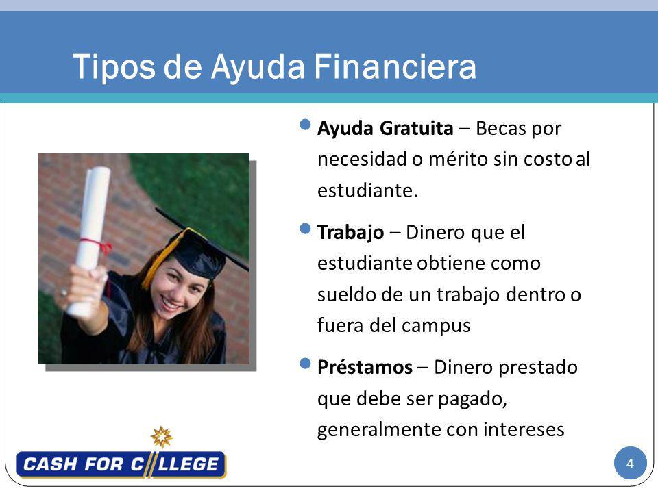4 Tipos de Ayuda Financiera Ayuda Gratuita – Becas por necesidad o mérito sin costo al estudiante.
