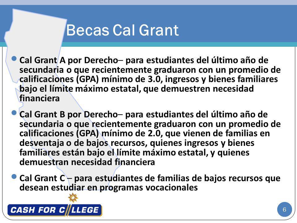 6 Becas Cal Grant Cal Grant A por Derecho– para estudiantes del último año de secundaria o que recientemente graduaron con un promedio de calificacion
