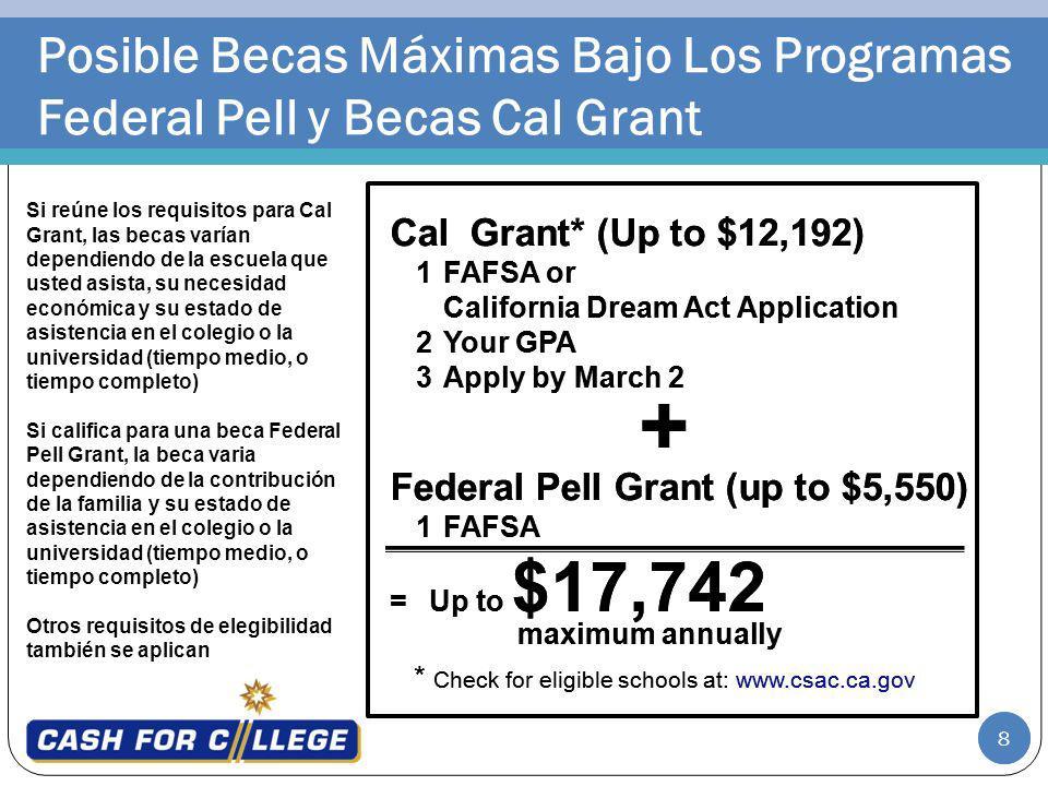 8 Posible Becas Máximas Bajo Los Programas Federal Pell y Becas Cal Grant Si reúne los requisitos para Cal Grant, las becas varían dependiendo de la e