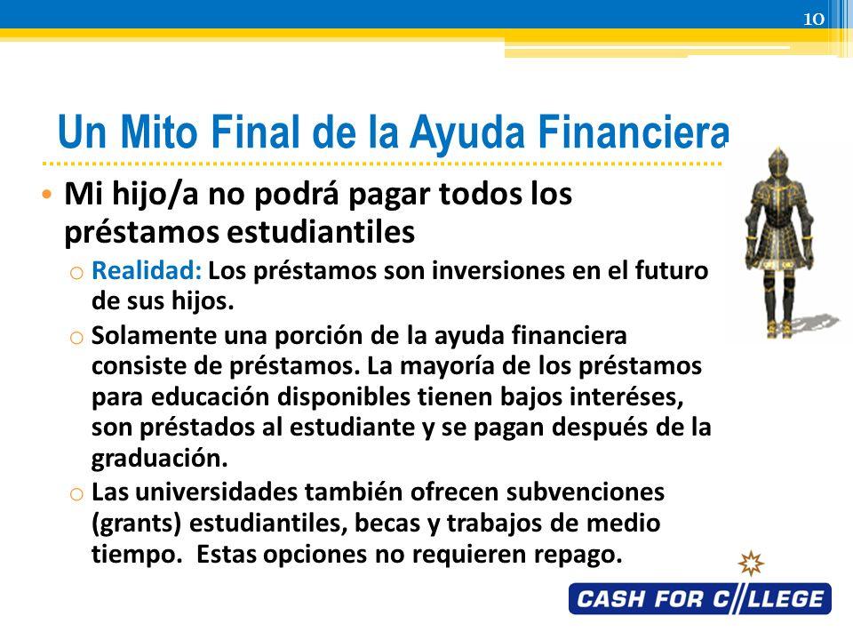 9 Otro Mito de la Ayuda Financiera Tendremos que usar todos nuestros ahorros para pagar la universidad o Realidad: Se espera que la mayoría de las familias no tengan que aportar de sus bienes o ahorros.