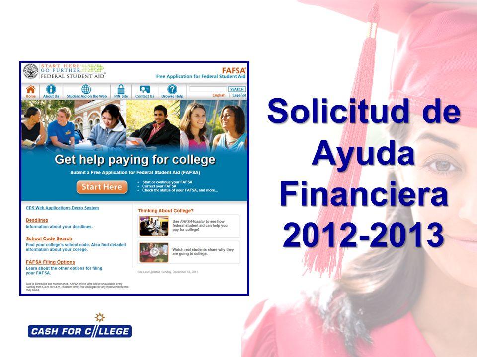 Solicitud de Ayuda Financiera 2012-2013