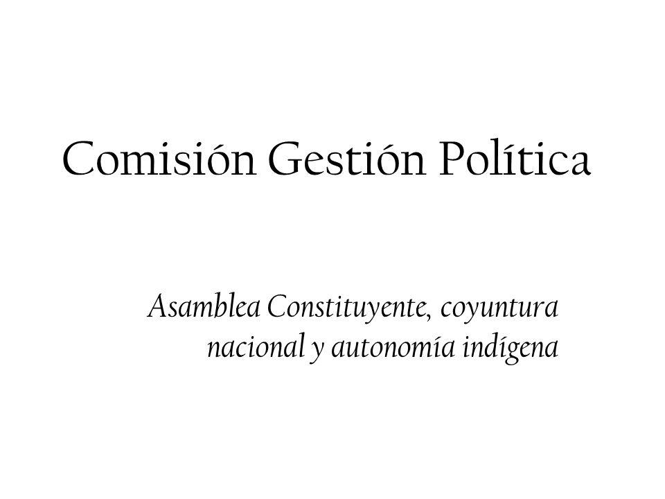 Comisión Gestión Política Asamblea Constituyente, coyuntura nacional y autonomía indígena