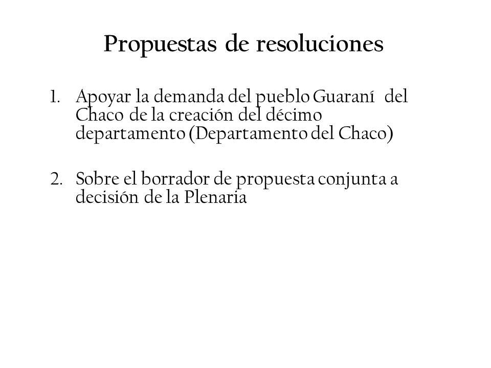Propuestas de resoluciones 1.Apoyar la demanda del pueblo Guaraní del Chaco de la creación del décimo departamento (Departamento del Chaco) 2.Sobre el